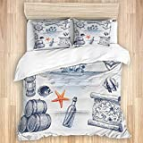 Ttrsudddsyy Duvet Cover Sets Bed Sheets,Anchor Bottle and Map Nautical Holiday A,3 Piece Bedding Set...