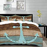 Anchor by,Boat Anchor Nautical Rustic Wooden Planks, Baby Blue Blue Mauve,Microfibre Duvet Cover Set...