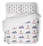3 Piece Duvet Cover Set Breathable Brushed Microfiber Fabric Navy Anchorage Nautical with Anchor and...