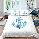 Anchor Decor Duvet Cover Nautical Bedding Set For Kids Boys Girls Children Ocean Themed Comforter...
