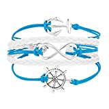 UNIQUEEN Infinity Navy Nautical Rudder Anchor Braided Weave Blue Leather Rope Leisure Bracelet