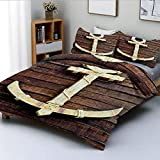 Duvet Cover Set,Old Wooden Nautical Anchor on the Deck Harbor Yacht Craft Navigation Drogue...