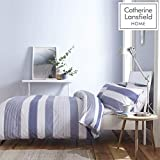 Catherine Lansfield Newquay Stripe Easy Care King Duvet Set Blue