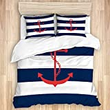 TARTINY Nautical Red Anchor Navy Blue and White Stripe Pattern Printed,Terrace bedroom...