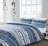 Velosso 3pce Marble Stripe Reversible Quilt Cover Bedding Set Block Stripes Nautical Navy Blue White...