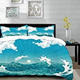 bedding - Duvet Cover Set ,Nautical,Foamy Ocean Waves with Fluffy Clouds in Air Sun Summer Sea...