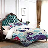 Hiiiman Bedding Cover Set 4pcs Marine Traffic with Whale Sailboat and Fish with Cloud and Waves...