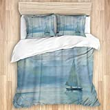 MANISENG Duvet Cover Sets Bed Sheets,Blue Nautical Oil Painted Voyage Boat in,3 Piece Bedding Set...
