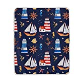 Hunihuni Nautical Anchor Throw Blanket Lightweight Warm Cozy Plush Bed Couch Blanket for Kids Boys...
