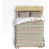 Sherly Yard 3 Piece Bedding Set, Green,Red Stripes Nautical Duvet Cover Set Quilt for...