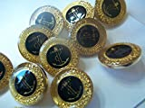 Pinsnneedles 10 X 18mm Gold Trim with Black Centre and Anchor Shank Buttons