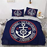 NEWAT Nautical Sea Ocean Theme, Duvet/Quilt Cover Bedding Set, Boat Ship Anchor Wheel Compass Lamp...