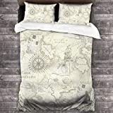 Quintion Cooper Antique Nautical Map All-Season Bedding 3-Piece with 2 Pillowcases Zipper Closure
