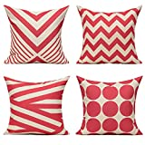 All Smiles Outdoor Rose Red Geometric Decorative Throw Pillow Covers Cushion Cases Home Decor Accent...