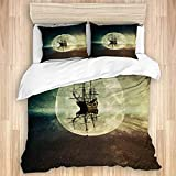 Duvet Cover,Nautical Rustic Pirate Ship in The Sea Historic Surround The Earth Ocean...