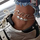 Gaddrt 2PC Bohemia Wave Anklets Alloy Bracelets for Women Rope Beach Anklet Jewelry - Bohemian Style...