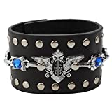 Gothic Design with Blue Stone Leather Goth Steampunk Bracelet Emo Punk Cyber Wrist Cuff Mens Womens...