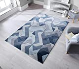 - Lord of Rugs - Quality Hand Carved Durable Abstract and Geometric Designs Thick Denim Blue Rug...