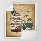 HYSGYP Blankets Pirate Cartoon Sailboat Nautical Sherpa Fleece Blanket Soft Plush Cozy Kids Adults...