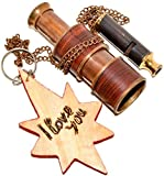 Eve Store Nauticals Brass Nautical Antique Telescope – 4.2 inches Long With Brass Whistle,Wooden...