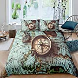 Loussiesd Vintage Compass Duvet Cover Set for Kids Boys Adults World Map Comforter Cover Nautical...