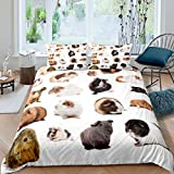 Guinea Pig Comforter Cover, Kids Rodent Breeds Bedding Set King Size, Cute Animal Pet Theme Duvet...