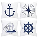 Alishomtll Nautical Sailing Throw Pillow Cover Anchor Navigation Compass Sailboat Pillowcase Set of...