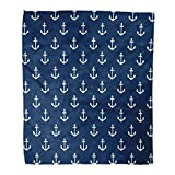 Kuidf Coastal Throw Blanket Nautical Vibrant Modern Marine Navy Blue Flannel Bedding Blankets 60x80...
