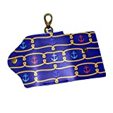 EZIOLY Red Blue Anchor PU Leather Car Key Chain Card Holder with 6 Hooks & 1 Keychain/Ring