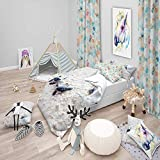 Duvet Cover 3 Piece Set Ultra Soft Microfiber Bedding Set Baby Green Turtles on Sand Nautical &...