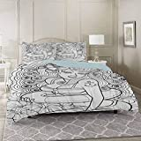 Nautical Bedding Duvet Cover Sets California King, Tattoo Coloring Book Style Sexy Pin Up Girl with...