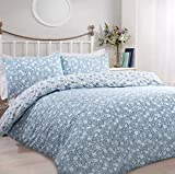 Sleepdown Ditsy Floral Blue Reversible Easy Care Duvet Cover Quilt Bedding Set with Pillowcases -...