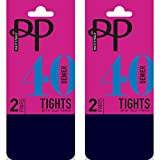 Pretty Polly 40 Denier Opaque Tights with Silk Finish (4 Pair Multi Pack) (S/M (34'-40' Hip), Navy...