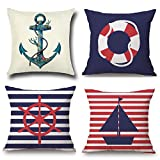 1758studio Navy Blue Nautical Throw Pillow Cover 4 Pack 18x18 Inch Cotton Linen Square Cushion...
