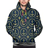 Men's Hoodies Sweatershirt,Abstract Cruise Ship Pattern with Windrose Nautical Rope and Anchor...
