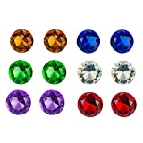12 Pack Large Treasure Gems Crystal Jewels Glass Round Diamond in Assorted Colors Party Decoration,...