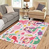 36X24 inch Area Rug Colorful Pattern Pink Mermaid and Marine Animals Cartoon Girl Floor Rugs Carpet