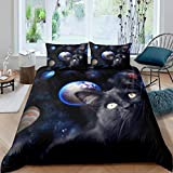 Black Cat Comforter Cover Galaxy Duvet Cover Planets Space Themed Bedding Set For Kids Boys Girls...