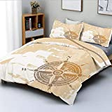 Duvet Cover Set,Nautical Themed Compass Marine Life Inspired Windrose Ship Rope Background...