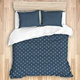 823 KASMILN bedding Duvet Cover Set,Navy Blue Nautical Classical Pattern with White Little Anchor...
