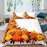 Loussiesd Pumpkin Comforter Cover Set Autumn Leaves and Fruits Duvet Cover Set for Kids Girls Adults...