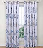 Nimsay Home Seafarer Nautical Seashells Compass 100% Cotton Eyelet Curtains with Tiebacks 66' x 54'