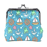 BONIPE Marine Anchors Nautical Pattern Coin Purse Leather Mini Clutch Pouch Wallet for Women Girls