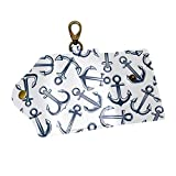 EZIOLY Marine Anchors PU Leather Car Key Chain Card Holder with 6 Hooks & 1 Keychain/Ring
