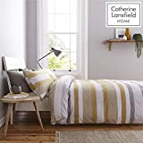 Catherine Lansfield Newquay Stripe Easy Care Double Duvet Set Ochre