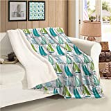 Nautical Wool Blanket Throw Size Sailing Boats on the Ocean Surfing Coastal Theme Marine Life...