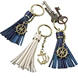FASHIONCRAFT Tassel Key Chain with Anchor and Ship Wheel, Pack of 4