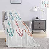 Nautical Bedding Microfiber Blanket Colorful Anchors with Ropes Abstract Hand Drawn Marine Elements...