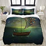 TARTINY Duvet Cover Set, Lonely Boat Sailing in a Calm Sea with Butterflies Colorful Nautical...