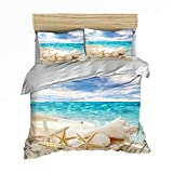 Bedding Set Seaside Scenery Blue Sea Green Palm Tree Daily Starfish Conch Lighthouse Pier Bridge...
